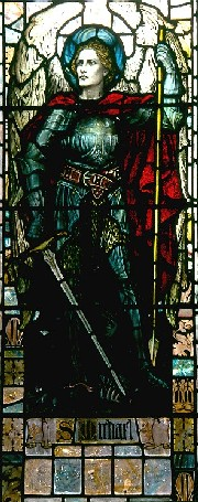 Archangel Michael - looks after Israel. In a Victorian representation in Goodrich, Herefordshire