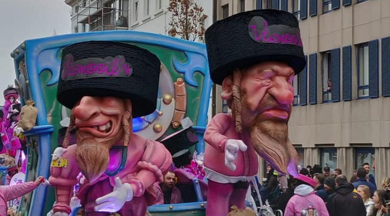 2019 Carnival float in Belguim, about Jews and their money bags