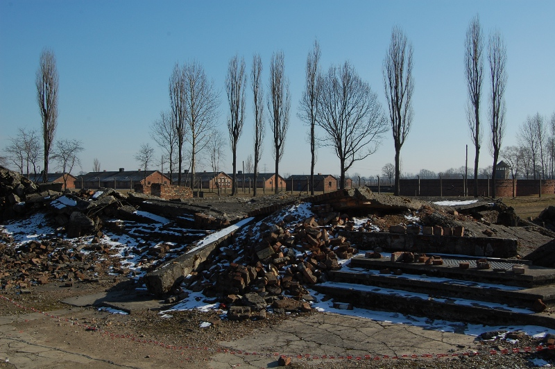 A crematorium at Auschwitz Birkenau - The retreating Nazis blew it up to attempt to destroy the evidence of their crimes.