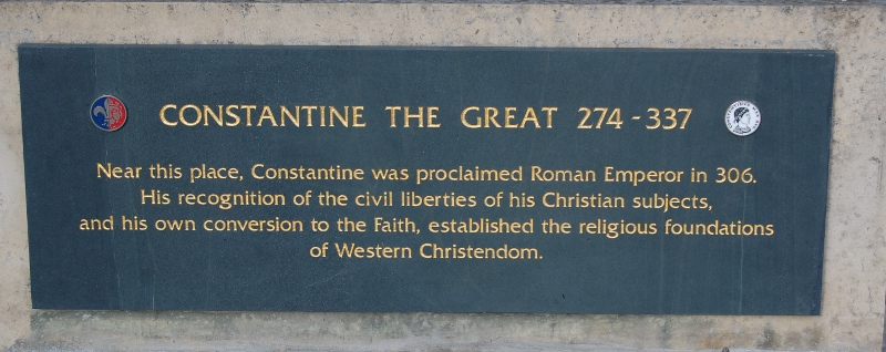 Plaque below Constantine's statue outside York Cathedral