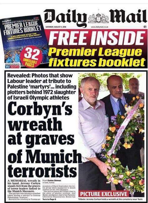 UK Labour party leader photographed laying a wreath at the graves of Palestininan terrorists responsible for the Munich Olympics massacre.