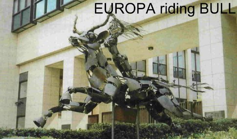 Statue of Europa riding the bull.  European Pariament building in Brussels