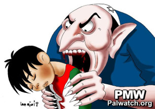 Palestinian cartoon showing a Jew eating a Palestinian child - from PMW
