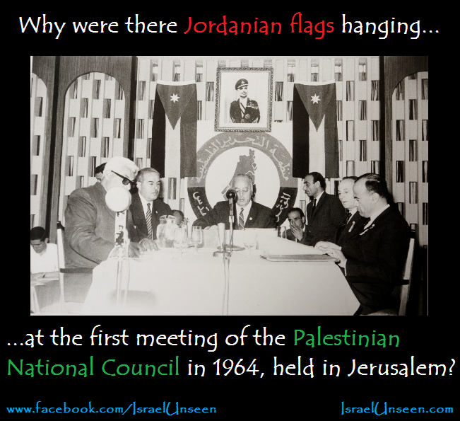 Why were there Jordanian flags at the first meeting of the Palestinian National Council in 1964?