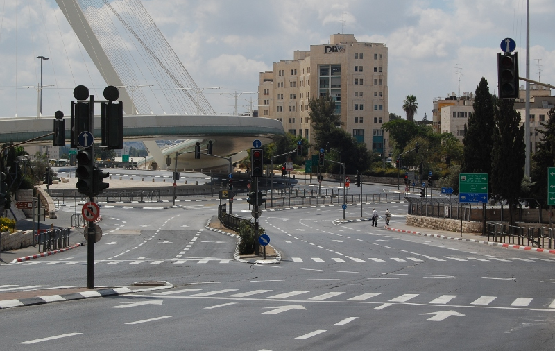 Mid morning on Yom Kippur at one of Jerusalem's busiest junctions.