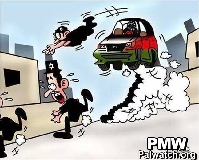 Palestinian Authority approved cartoon, inciting Palestinians to run down Jews.