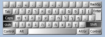 The Hebrew keyboard layout, as supplied by qsm.co.il
