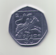 50 (half Euro?) coin from Cyprus, showing the woman riding the beast - the rape of Europa