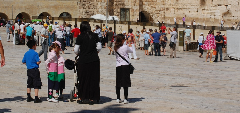 Jewish mother and children at the Kotel (Western Wall) in Jerusalem