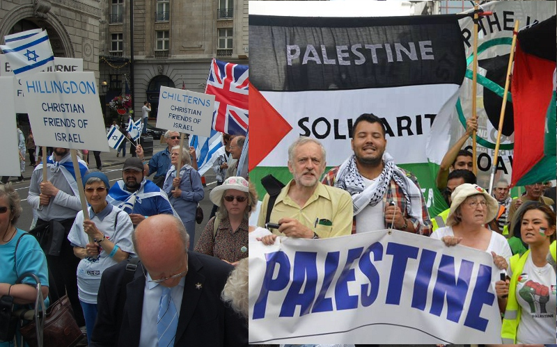 Christian Friends of Israel and friends of Palestine (including Labour leader Jeremy Corbin) No meeting of minds.
